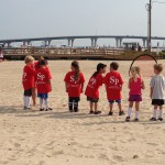 "Elementary students enjoy a Soccer on the Beach class as part of the ""Morrow Mauraders!"""